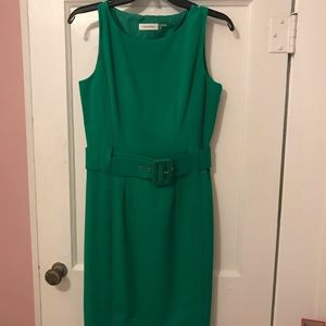 Calvin Klein Green Sheath Professional Dress